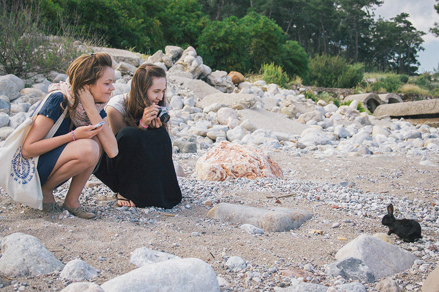 девушки пляж кролик